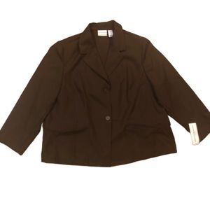 NWT Alfred Dunner Brown Padded Button Blazer 22W